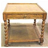 Burl Walnut Barley Twist One Drawer Table by Baker Furniture