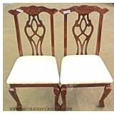 8 Piece Contemporary Chippendale Style Burl Mahogany Dining Room Set (china to be photod)