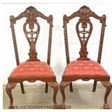 8 Piece SOLID Mahogany Chippendale Style and Carved Dining Room Set with Pierce Carved  3 Door Chin
