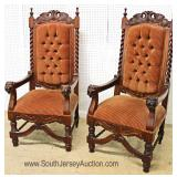 FANTASTIC Set 6 ANTIQUE SOLID Mahogany Highly Carved w/Lion Heads & Birds Dining Room Chairs