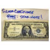 - RARE – Star Note Silver Certificate $1.00 Bill Located Inside - Auction Estimate $10-$20