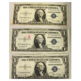 ARE – (3) 1935 Silver Certificate $1.00 Bills without In God We Trust