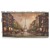 20TH Century Contemporary Oil on Canvas of Eiffel Tower Paris Located Inside - Auct
