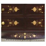 ASIAN Hardwood Exotic Rosewood Brass Inlaid Cylinder Roll Desk Located Inside