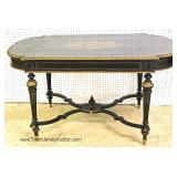 ANTIQUE Empire Ebonized Center Table with Brass Inlay and Applied Brass Trim Located Inside - Auctio