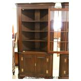 "PAIR of SOLID Mahogany 12 Pane Corner Cabinets by ""Henkel Harris Furniture"" Located Inside - Auction"