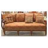 LARGE Mahogany Contemporary Frame Sofa with Decorator Pillows Located Inside - Auction Estimate $200
