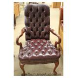 Leather Button Tufted Scroll Arm Queen Anne Chair Located Inside - Auction Estimate