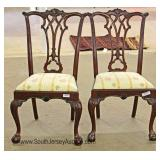 PAIR of SOLID Mahogany Ball and Claw Chippendale Style High Back Side Chairs Located Inside - Auctio