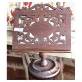 ANTIQUE Rosewood Pierce Carved Book or Music Stand Located Inside - Auction Estimate $50-$100