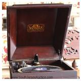 2 Piece Mahogany Victrola with Case Located Dock - Auction Estimate $100-$200