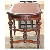 ANTIQUE Victorian Walnut Leather Top Parlor Table Located Inside - Auction Estimate $100-$300