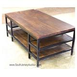 INDUSTRIAL Style Metal Frame Slab Coffee Table Located Inside - Auction Estimate $100-$300