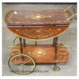 ITALIAN Mahogany Drop Side with Inlaid Tea Cart Located Inside