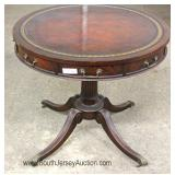 Mahogany Red Leather Top Drum Table Located Inside - Auction Estimate $50-$100