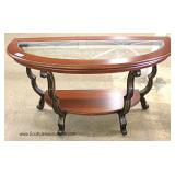 CONTEMPORARY Decorator Etched Glass Top Mahogany and Metal Base Console Table Located Inside - Aucti