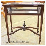 SOLID Mahogany Stretcher Base Display Table Located Inside - Auction Estimate $100-$200