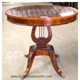 -- NICE – Mahogany Banded Lyre Harp Round Lamp Table Located Inside - Auction Estimate $100-$300