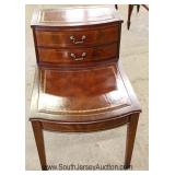 "Mahogany Leather Top 2 Drawer Step Table by ""Columbia Furniture"" Located Inside - Auction Estimate $"