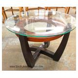 PAIR of Glass Top Contemporary End Tables Located Inside - Auction Estimate $100-$200