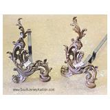 PAIR French Style Bronze Andirons Located Inside - Auction Estimate $100-$200