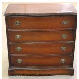 Mahogany Serpentine Front 4 Drawer Bachelor Chest Located Inside - Auction Estimate $100-$200