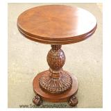 CONTEMPORARY Burl Mahogany w/Fluted & Pineapple carved Base Banded Top Table Ethan Allen