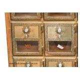 ANTIQUE Bronze and Glass Post Office Boxes in Wood Cabinet Located Inside - Auction Estimate $400-$8