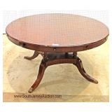 "BEAUTIFUL 60"" Burl Mahogany Banded Round Dining Room Table with Perimeter 10"" Leaves - Expands 70"""