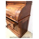 ANTIQUE NICE Size Victorian Walnut Cylinder Roll Desk with Bookcase Located Inside - Auction Estimat