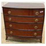Burl Mahogany Bow Front 4 Drawer Banded Hepplewhite Style Chest Located Inside - Auction Estimate $3
