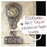 STERLING Art Deco Hanging Clock Pendant Located Inside - Auction Estimate $20-$40
