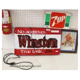 VINTAGE Winston Cigarette, 7UP, Cocoa Cola Advertisement and More