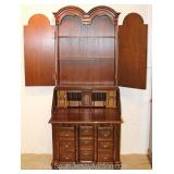 SOLID Mahogany 2 Piece Block Front Secretary Bookcase Attributed to Feldenkreis Furniture  Located
