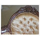 Mahogany Frame Carved Upholstered Button Tufted Chaise Lounge Located Inside – Auction Estimate $200