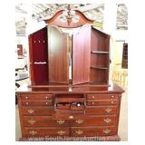 NICE Contemporary 2 Piece Cherry Dresser with Tri Fold Mirror with Built in Jewelry Chest in Mirror