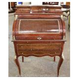 Burl Mahogany French Style Cylinder Roll Desk with Applied Bronze Located Inside – Auction Estimate
