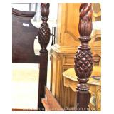 "4 Piece Mahogany King Size Carved Pineapple Poster Bedroom Set by ""Global Furniture"" Located Inside"