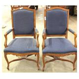 PAIR of Country French Carved Blue Upholstered Arm Chairs Located Inside – Auction Estimate $200-$30
