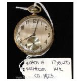"14 Karat Gold 17 Jewels Pocket Watch by ""Waltham"" circa 1923"