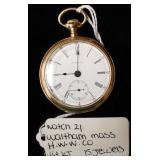 "14 Karat Gold 15 Jewels Waltham Mass. Pocket Watch by ""H.W.W. Company"""