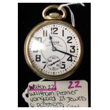 10 Karat Gold Filled 23 Jewels 6 Position Waltham Premier Vanguard Pocket Watch