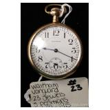 23 Jewel 5 Position Waltham Vanguard Pocket Watch circa 1915