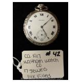 "14 Karat Gold Filled 17 Jewels Pocket Watch by ""Waltham Watch Company"""