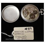 "17 Jewels Pocket Watch by ""American Waltham Watch Company"" circa 1893"