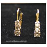 14 Karat Gold 3 Diamond Stone Lever Back Earrings
