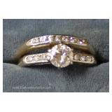 14 Karat Gold Diamond Engagement Ring Set