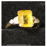 10 Karat Yellow Gold and Yellow Stone with Diamonds Ring