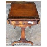Burl Mahogany Leather Top Drop Side Table Located Inside – Auction Estimate $50-$100