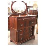 ANTIQUE Burl Mahogany Empire High Chest with Mirror Located Inside – Auction Estimate $200-$400